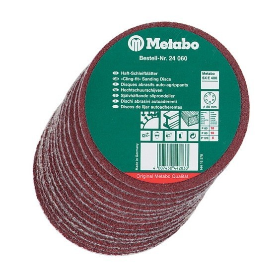 Image of Metabo Sanding Discs 150mm Pack Of 25 60 80 120 Grit