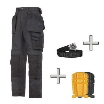 SNICKERS 3211 COOLTWILL TROUSERS WORK PACK BLACK WITH KNEE PADS & BELT (35W, 32L)