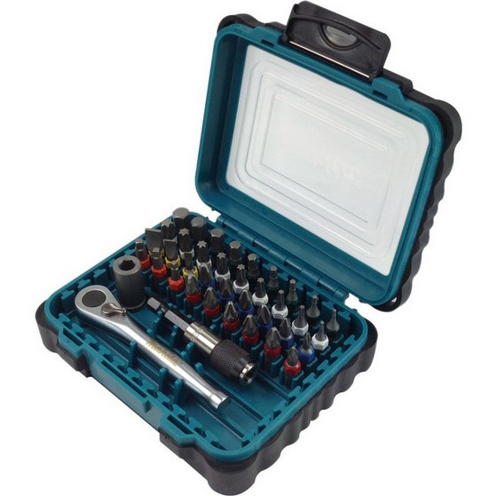 Image of Makita P79158 39 Piece Screw Driver Bit Set With Ratchet Drive Socket & Locking Bit Holder