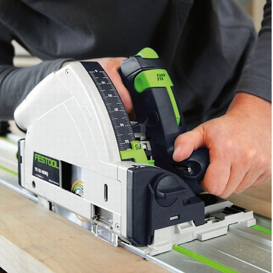 FESTOOL 561584 TS55REBQ/ KIT 160MM PLUNGE SAW 110V WITH 2X 1.4M RAILS, 2X CONNECTORS, RAIL CASE AND T-LOC CASE