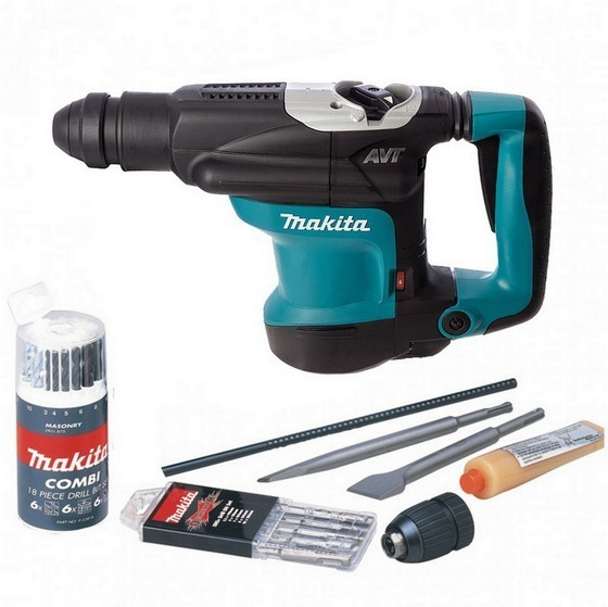 Image of MAKITA SMAK32C2 HR3210C SDS PLUS ROTARY HAMMER DRILL 4KG 110V ACCESSORIES