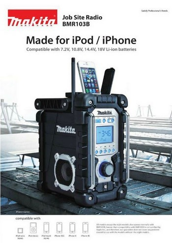 MAKITA BMR103B BLACK JOB SITE RADIO WITH IPOD / IPHONE DOCKING CONNECTOR AND 240V MAINS ADAPTOR