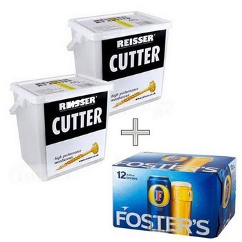 REISSER R2 CUTTER WOODSCREWS 4 x 50mm CSK TUB OF 900 (BUY 2 TUBS RECEIVE 1 Case of LAGER FREE)