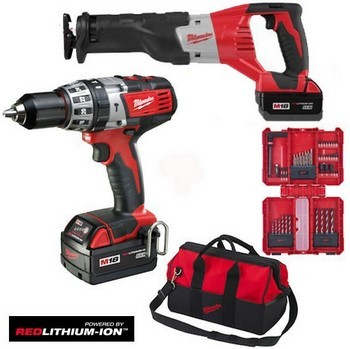 MILWAUKEE M18SET2F-32B 18V COMBI DRILL & SABRE SAW 2 X 3.0ah RED Li-ion BATTERIES