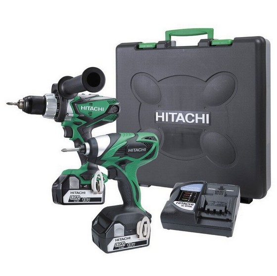 Image of HITACHI KC18DKLJB 18V TWIN PACK COMBI DRILL AND IMPACT DRIVER WITH 2X 50AH LIION BATTERIES
