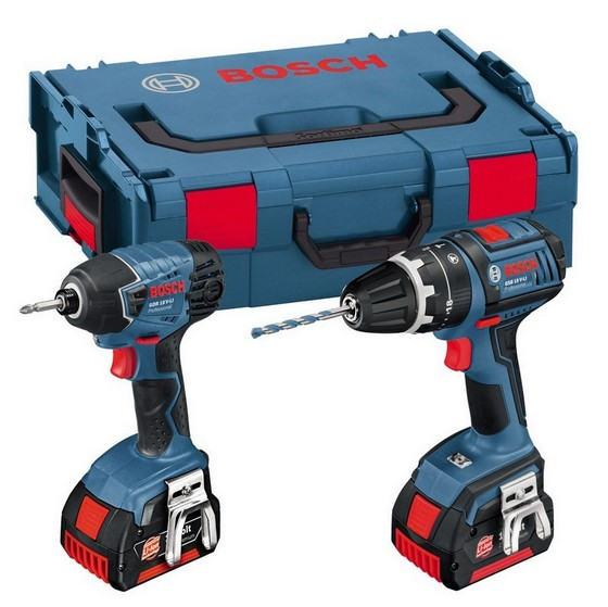 Image of BOSCH GSB18VLITWIN 18V COMBI HAMMER DRILL & IMPACT DRIVER 2 X 40AH LIION BATTERIES