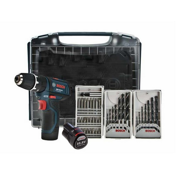 BOSCH GSB10.8V-LI 10.8V COMBI HAMMER DRILL 2X 1.5AH LI-ION BATTERIES SUPPLIED IN I-BOXX + 39 ACCESSORIES