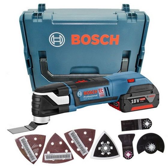 BOSCH GOP18VEC 18V BRUSHLESS MULTI-TOOL WITH 2X 4.0AH LI-ION BATTERY AND 20 ACCESSORIES