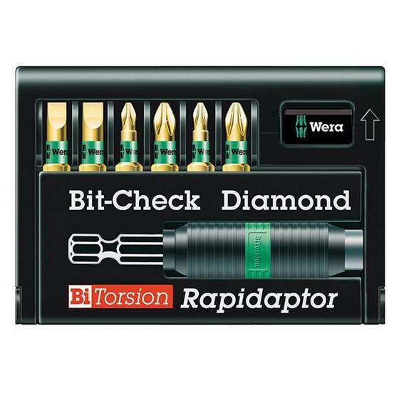 Image of WERA WER056370 7 PIECE BITCHECK BITORSION DIAMOND COATED SET