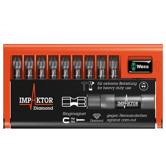 Wera WER057684 9 Piece Impaktor Pozi Screwdriver Bit Set