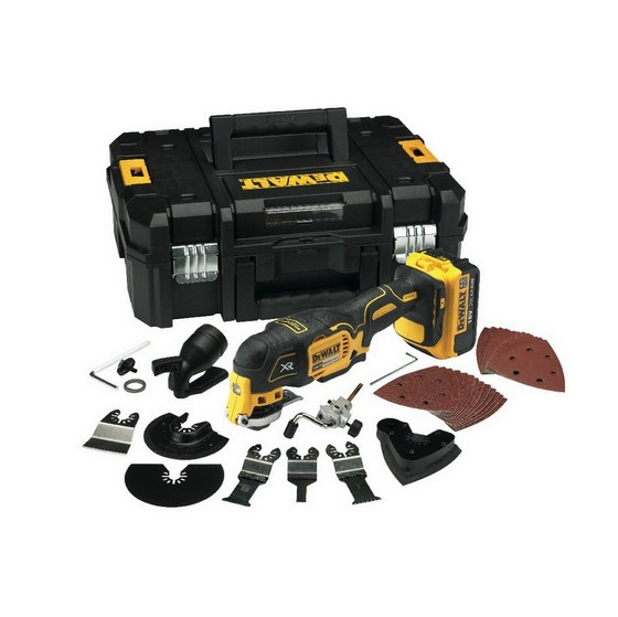 Image of DEWALT DCS355M1 18V MULTITOOL 1X 40AH LIION BATTERY SUPPLIED WITH 35 ACCESSORIES