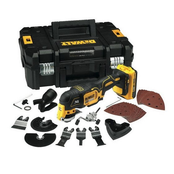 DEWALT DCS355D2 18V BRUSHLESS MULTI TOOL WITH 2x 2.0AH LI-ION BATTERIES + 35 ACCESSORIES