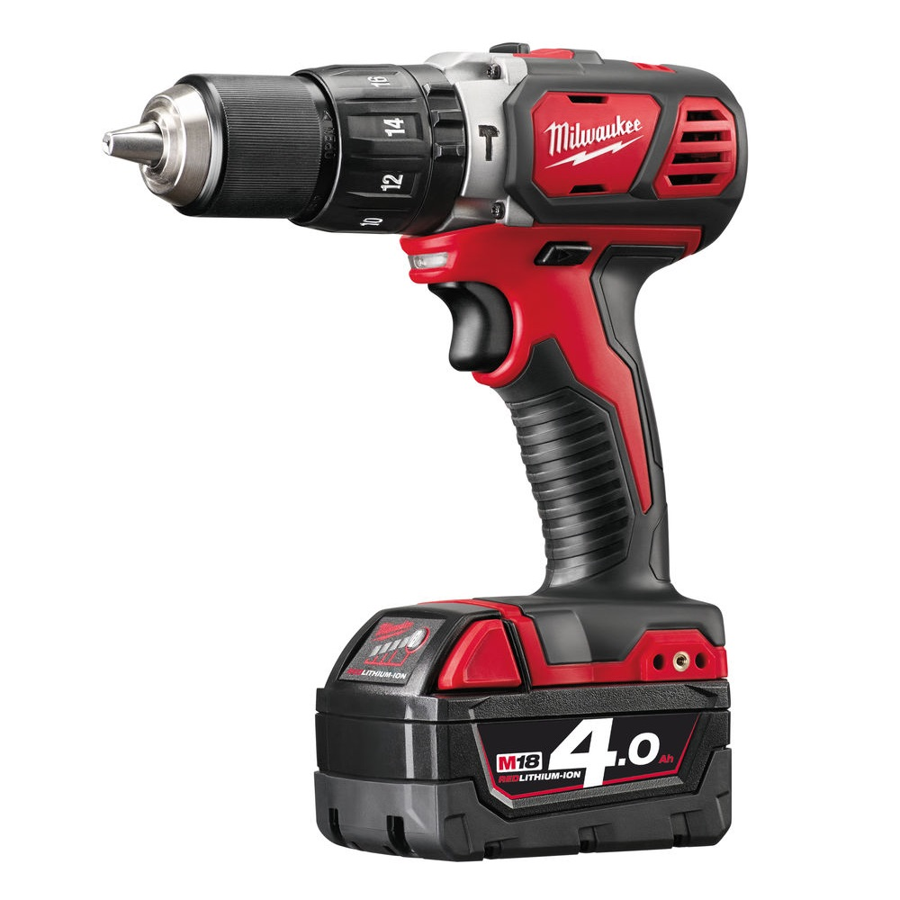 MILWAUKEE M18BPD-402C M18 18V COMPACT COMBI HAMMER DRILL WITH 2X 4.0AH LI-ION BATTERIES