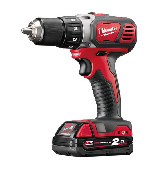 MILWAUKEE M18BDD-202C M18 18V COMPACT DRILL DRIVER WITH 2X2.0AH RED LI-ION BATTERIES