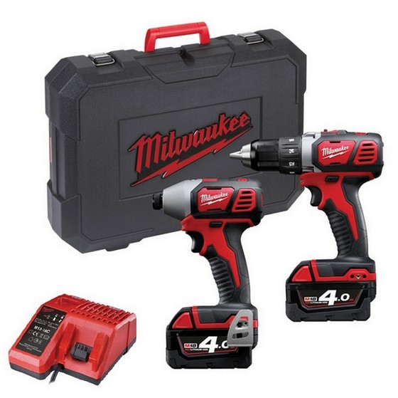 Milwaukee M18BPP2A-402C M18 18V Heavy Duty Combi & Impact Driver Twin Pack With 2x4.0ah Red Li-ion Batteries