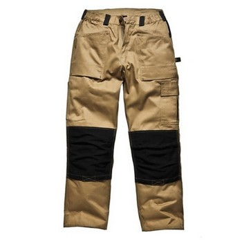 DICKIES WD4930 GRAFTER DUO TONE TROUSERS KHAKI / BLACK (30W, 32L)