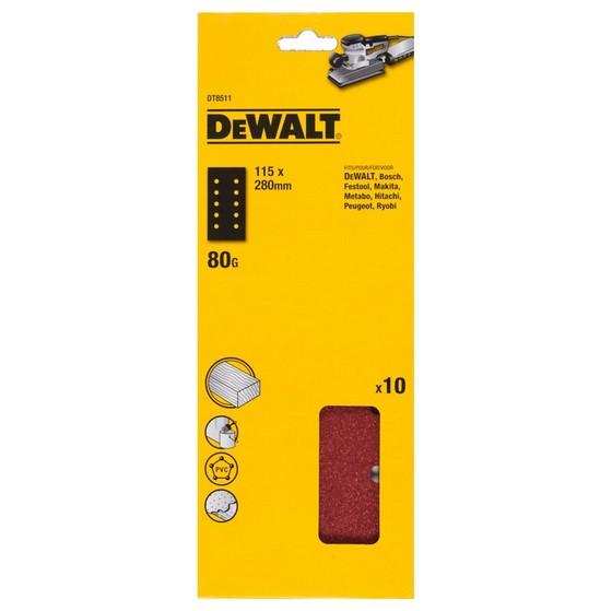 Image of DEWALT DT8511QZ 115X280MM SANDING SHEET 80 GRIT PACK OF 10