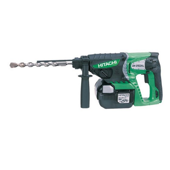 HITACHI DH25DAL/2 25.2V SDS DRILL 2 x 2.0Ah Li-ion BATTERIES + CHUCK, ADAPTOR & SDS SET