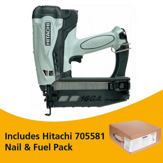 Image of HITACHI NT65GS 36V 2ND FIX STRAIGHT BRAD NAILER 2X 15AH LIION BATTERIES