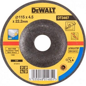 Dewalt DT3467-QZ Depressed Centre Inox Grinding Disc 115X4.0X22.2mm