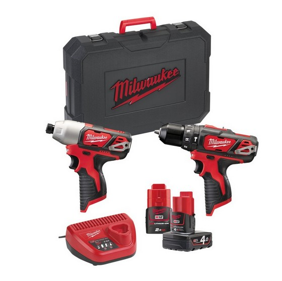 Milwaukee M12BB2B-421C M12 12V Combi & Impact Driver Twin Kit With 1x2.0a & 1x4.0ah Red Li-ion Batteries