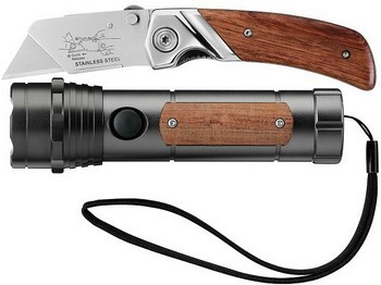 Stanley 0-10-074 Folding Wooden Knife And Torch Set