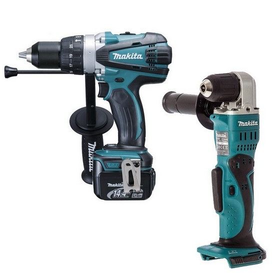 MAKITA BHP448RFE 14.4V COMBI HAMMER DRILL 2X 3.0AH LI-ION BATTERIES + FREE ANGLE DRILL (BODY ONLY)