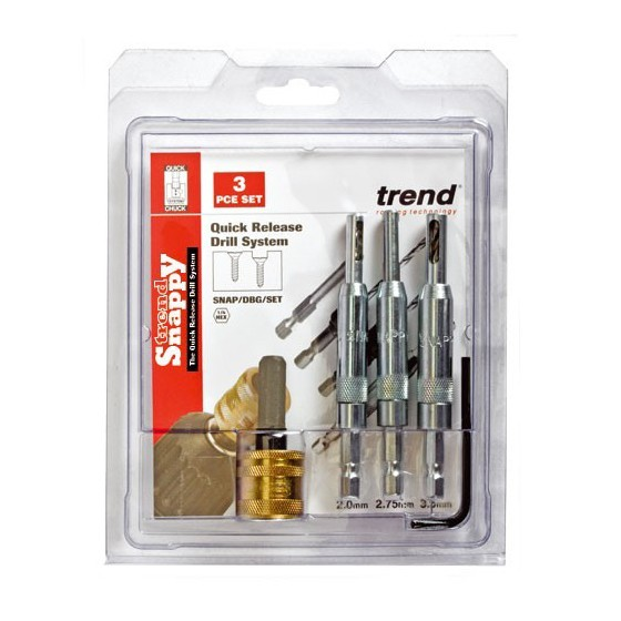 Image of Trend Snapdbgset Snappy Centring Guide Drill Bit Set Pack Of 3