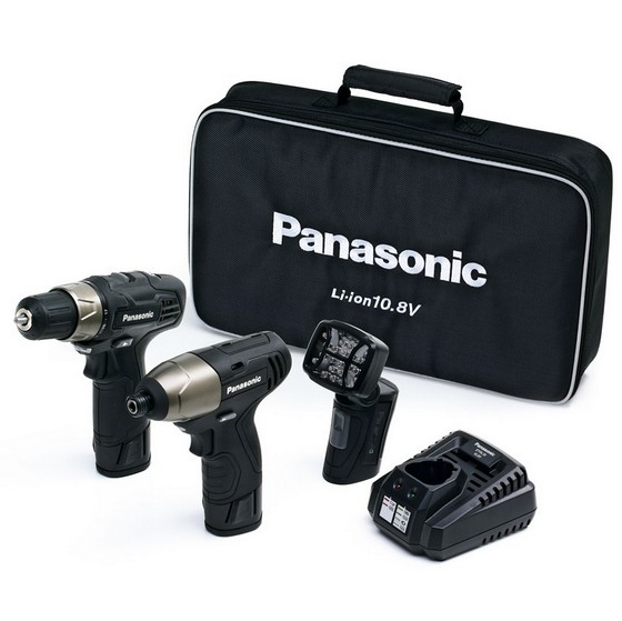 Anglia Tool Centre PANASONIC 108v DRILL DRIVER  IMPACT DRIVER & LED TORCH KIT 2 x 15ah Liion BATTERIES