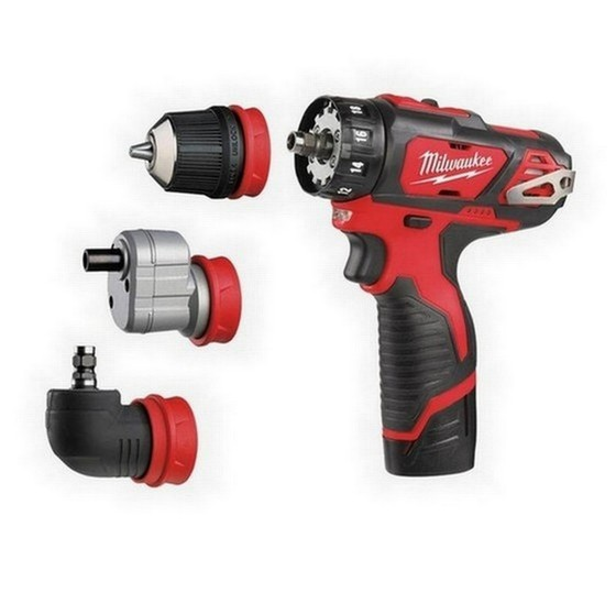 Image of MILWAUKEE M12BDDXKIT202C 12V MULTI HEAD DRILL DRIVER 2X 20AH LIION BATTERIES