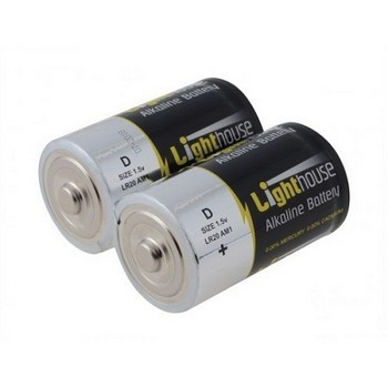 LIGHTHOUSE LR20 ALKALINE D BATTERIES X2