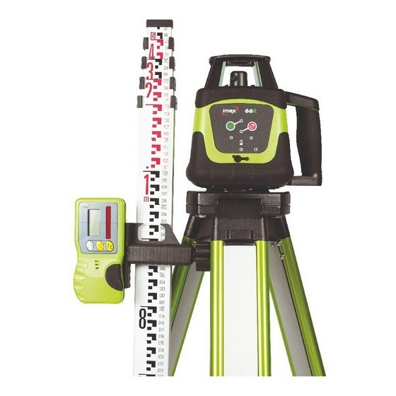 Image of IMEX 66R LASER LEVEL KIT INCLUDES 5M METRE STAFF and FLAT TOP TRIPOD