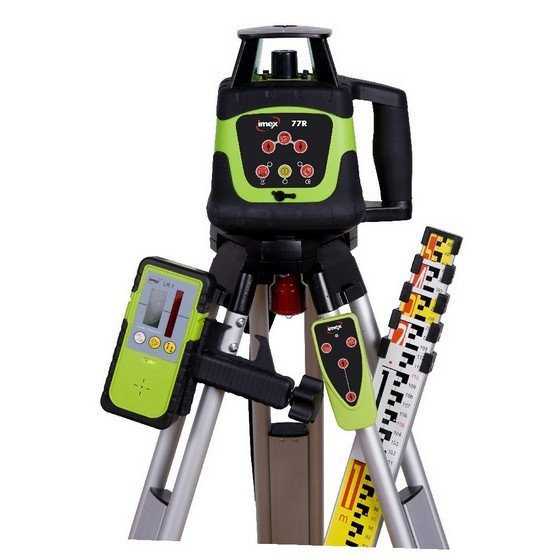 Image of IMEX 77R HORIZONTAL ROTATING LASER LEVEL KIT WITH 5M STAFF and FLAT TOP TRIPOD