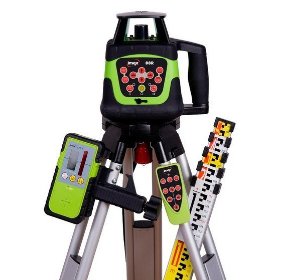Image of IMEX 88R HV ROTATING LASER LEVEL KIT WITH 5M METRIC STAFF and TRIPOD