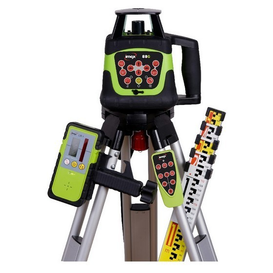 Image of Imex 88g Hv Green Beam Rotating Laser Level With 5m Staff & Tripod