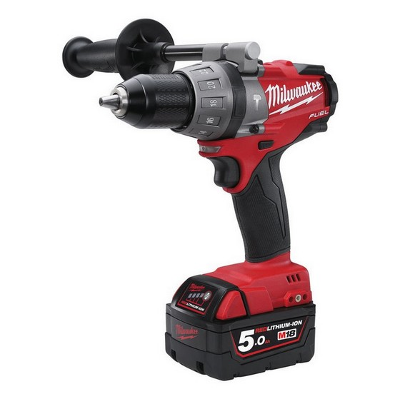 MILWAUKEE M18CPD-502X 18V BRUSHLESS COMBI HAMMER DRILL WITH 2X 5.0AH LI-ION BATTERIES