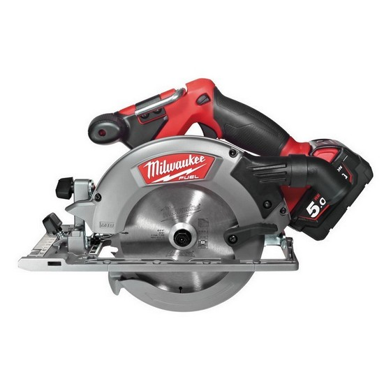 Image of MILWAUKEE M18CCS55502B 18V FUEL BRUSHLESS CIRCULAR SAW WITH 2X 50AH LIION BATTERIES