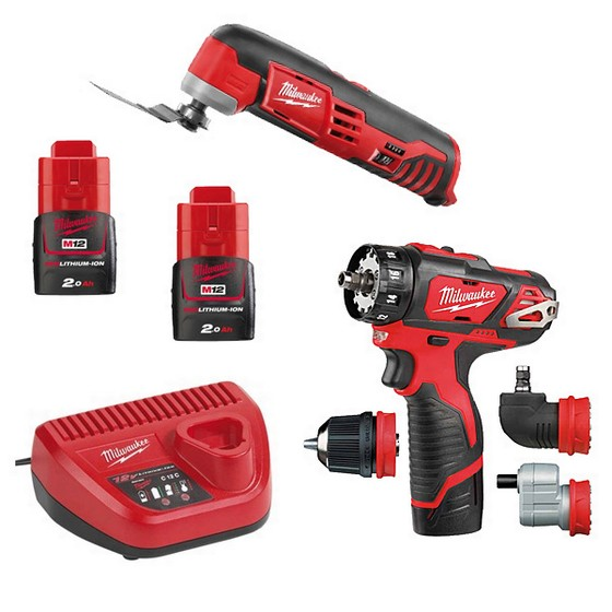 MILWAUKEE M12SET2G-202C 12V BDDX & MULTI TOOL POWER PACK WITH 2X 2.0AH LI-ION BATTERIES