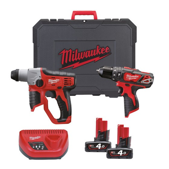 MILWAUKEE M12SET2F-402C 12V COMBI & SDS POWER PACK WITH 2X 4.0AH LI-ION BATTERIES