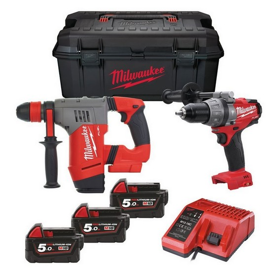 MILWAUKEE M18SET2S-503W 18V BRUSHLESS COMBI & SDS POWER PACK 3X 5.0AH LI-ION BATTERIES