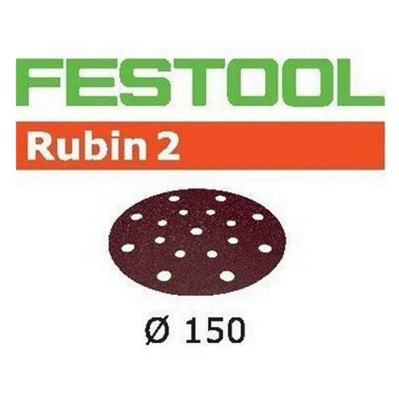 FESTOOL 499111 PACK OF 10 RUBIN 2 SANDING DISCS P80 GRIT 150MM