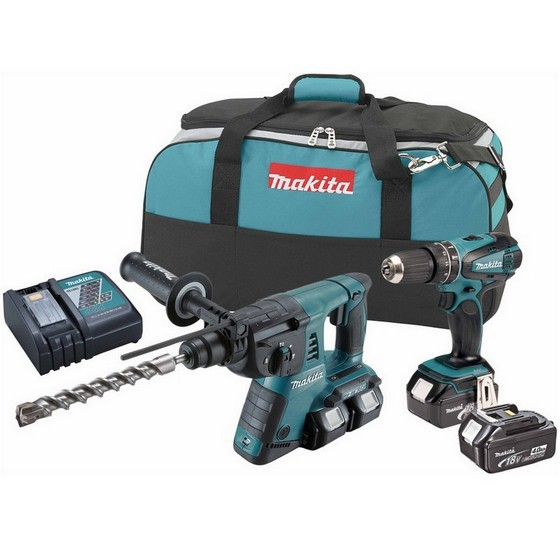 MAKITA DLX2069MX2 18V SDS & COMBI TWIN PACK IN BAG WITH 4X 4.0AH LI-ION BATTERIES