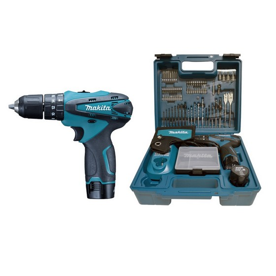 MAKITA HP330DX100 10.8V COMBI HAMMER DRILL WITH 2X 1.3AH LI-ION BATTERIES + 73 ACCESSORIES