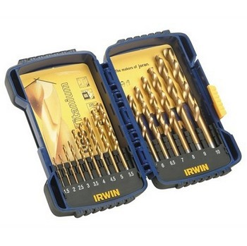 IRWIN 10503991 15 PIECE PROFESSIONAL HSS TIN DRILL BIT SET