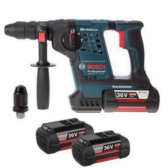 Image of Bosch Gbh36vfli Plus 36v Sds Hammer Drill With 3x 40ah Liion Batteries