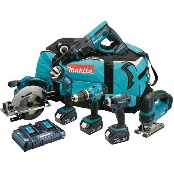 MAKITA DLX6017PM 18V LXT 6 PIECE KIT WITH 3X 4.0AH LI-ION BATTERIES + DUAL CHARGER