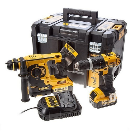 DEWALT DCK206M2T 18V XR COMBI DRILL AND SDS DRILL TWIN PACK WITH 2X 4.0AH LI-ION BATTERIES