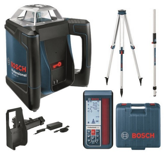 BOSCH GRL500HV GRADIENT ROTATING LASER LEVEL KIT + ACCESSORIES