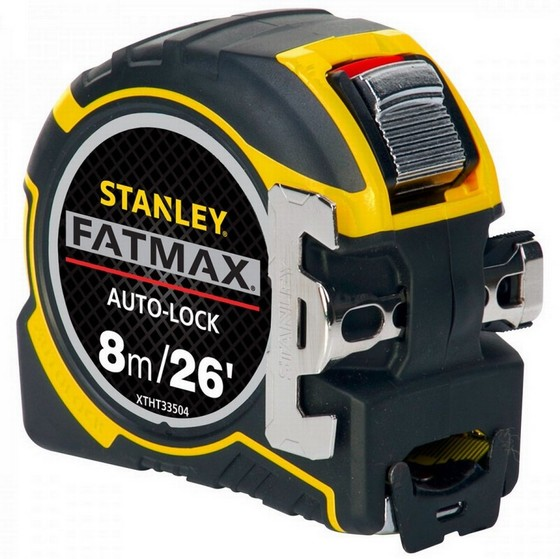 Image of Stanley Sta033504 Fatmax Auto Lock Tape Measure 8m26ft With Detachable Hook