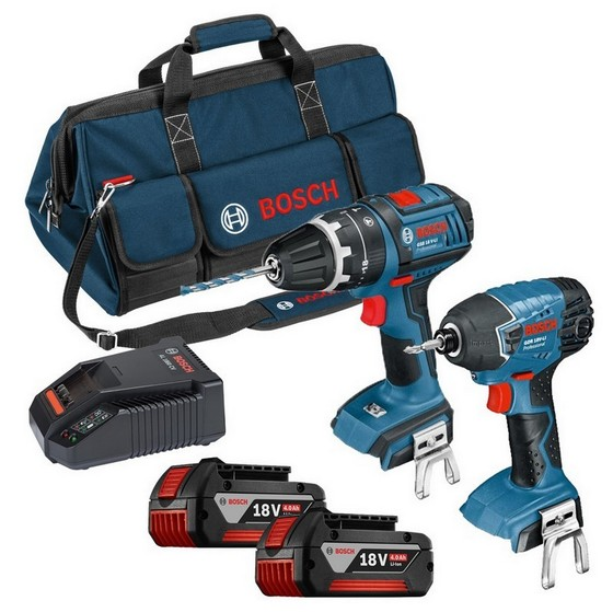 BOSCH 18V COMBI DRILL AND IMPACT DRIVER TWIN PACK WITH 2X 4.0AH LI-ION BATTERIES, CHARGER AND TOOL BAG